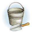 watercolor tin bucket and shovel vector image