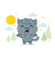 werewolf in kawaii style vector image vector image
