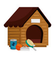 wooden house dog with icons vector image vector image