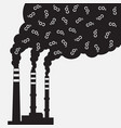 factory silhouette with chimney polluting co2 vector image