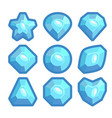 a set of blue emblems of precious stones vector image