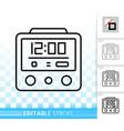 alarm clock simple black line icon vector image vector image
