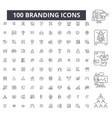 branding editable line icons 100 set vector image vector image