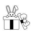 bunny or rabbit coming out of gift box easte vector image