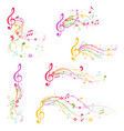 cartoon decoration elements musical color set vector image