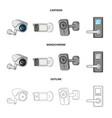 cctv and camera symbol set vector image
