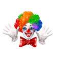 circus clown face colorful realistic portrait vector image vector image