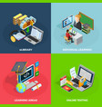 E-learning Concept Icons Set vector image vector image