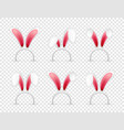 easter bunny ears pink and white mask with rabbit vector image vector image