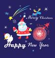 festive christmas card with santa claus on a dark vector image vector image