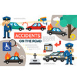 flat road accident infographic template vector image vector image