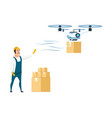flying drone delivery from storage or warehouse vector image vector image