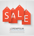 four large orange tags with the word sale vector image
