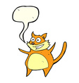funny cartoon cat with speech bubble vector image vector image