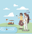 golf players couple in the course vector image vector image