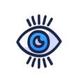 hand drawn blue eye doodle icon drawn black vector image