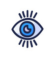 hand drawn blue eye doodle icon hand drawn black vector image