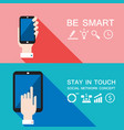 hand holding smart phone and tablet modern flat vector image