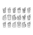 iced coffee cup icon thin line coffee mug vector image vector image