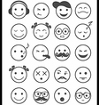 icons set 20 emotional and kids smiles black and vector image