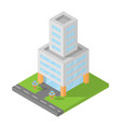 isometric office building block flat 3d design vector image