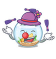 juggling fishbowl in a funny on cartoon vector image vector image