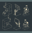 microscopes mini set drawings vector image