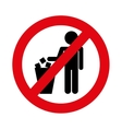no littering prohibition sign vector image