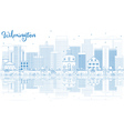 Outline Wilmington Skyline with Blue Buildings vector image vector image