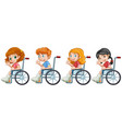 set children on wheelchair vector image
