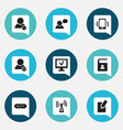 set of 9 editable network icons includes symbols vector image