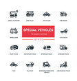 special vehicles - flat design style icons set vector image vector image
