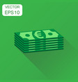 stacks of euro cash icon business concept euro vector image
