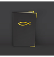 Standing black Bible with golden symbol of vector image