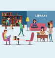 students in library peoples reading books vector image vector image