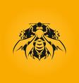 stylized bee icon on hexagon with honeycomb vector image