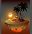 summer holidays on night tropical island under vector image