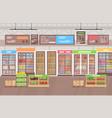 supermarket interior big vector image vector image