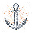 vintage anchor hand drawn sketch logo vector image