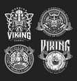vintage viking monochrome labels vector image vector image