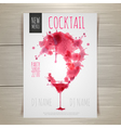 Watercolor cocktail poster vector image vector image