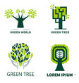 woodland and green tree isolated icons ecology and vector image vector image