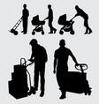 worker gesture silhouette vector image vector image