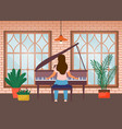 young woman plays piano at home home vector image