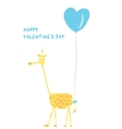 Giraffe in love on Valentine Day the vector image