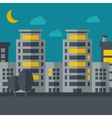 Night scenery of building city with moon vector image