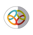 sticker shading colorful rings in circular shape vector image