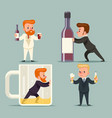 alcohol beer rum whiskey male guy character vector image