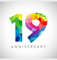 19 anniversary colorful facet logo vector image vector image