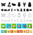 an unrealistic flat animal icons in set collection vector image vector image
